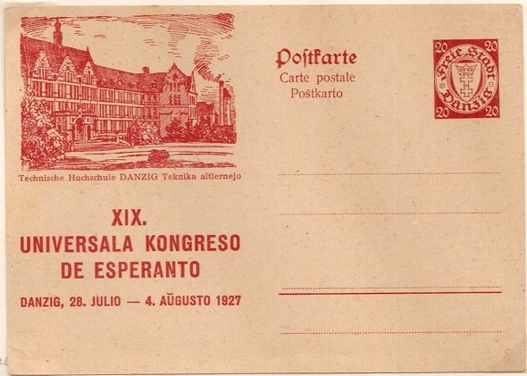 1927 Danzig 20 pfennig Esperanto postal stationery postcard re 19th Congress